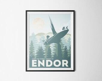 Star Wars Themed Endor Travel Poster