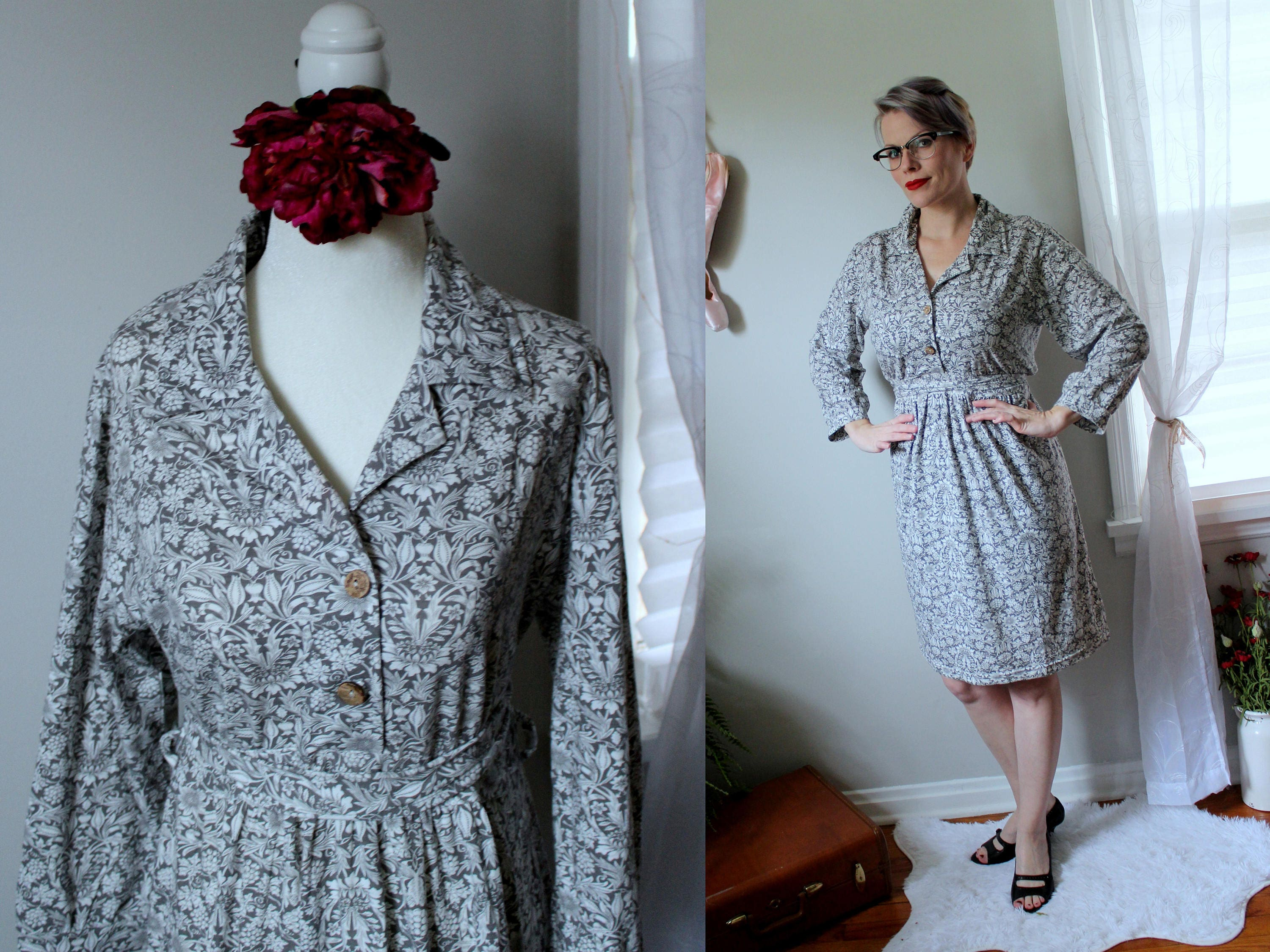 Floral Explosion Day Dress Dove Grey Dress With White