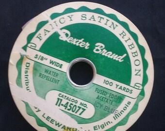 Icy Blue Fancy Satin Ribbon, Vintage, Lee Wards Ribbon Trim, 5/8 Inch Wide, Partial Roll, Vintage Satin Ribbon
