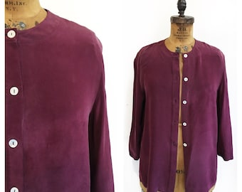 Slouchy silk plum coloured collarless blouse. Size L/XL.