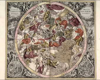 Poster, Many Sizes Available; Map N Constellations Zodiac Astrology 1708 P2