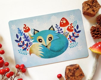 Winter Fox Postcard, Blue Fox, Whimsical Animals Limited Edition Postcard Postcrossing