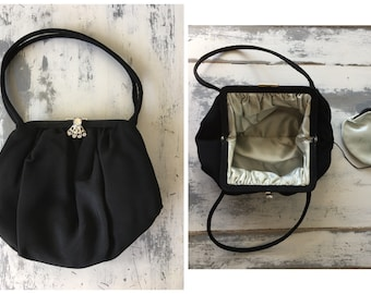 Gorgeous Black 50s Evening Purse / Satin Inner Lining / Matching Attached Change Purse / Pinup Roackabilly Style