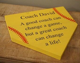 Coaches gift. Thank you coach. Softball coach. Baseball coach. Home plate sign. Baseball sign. Softball sign. Custom sign. Gift for coach.