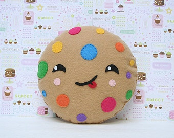 Fun Room Decor, Cookie Pillow, Kawaii, Cute Gift, Colorful Cushions,Nursery Decor, Rainbow