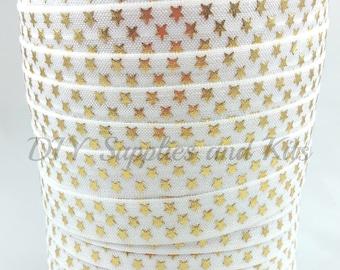 White gold stars fold over elastic, Printed FOE,  Headband elastic,  Elastic by the yard - 5/8 elastic - 1 or 5 yards