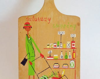 Mid Century Cutting Board and Key Hanger - Saturday Shopping by Milvia - 1960s