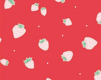 Everyday Party Strawberries Red Organic Cotton Fabric, Red Strawberry Fabric