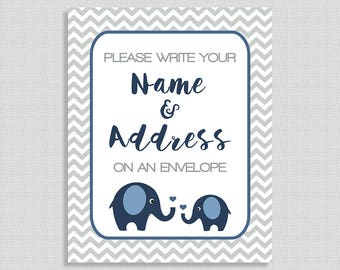 Address an Envelope Baby Shower Table Sign, Navy Elephant Grey Chevron Shower Table Sign, INSTANT PRINTABLE