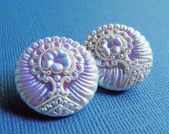 Czech Glass Buttons AB on White