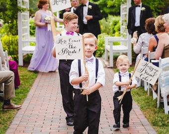 Set of 3 Wedding Signs Here Comes the Bride Sign + Hooray Sign + Hurry Up I Want Cake Sign Ring Bearer Banner Flower Girl Page Boy 1114 SRW