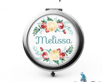Personalized Compact Mirror Berries and Roses Floral Wreath Bridesmaid Gifts Cosmetic Mirror Custom Favors Birthdays - The Melissa