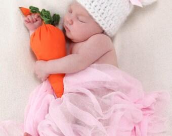 Baby Bunny Hat, Newborn Bunny Hat with Bow, Baby Girl Bunny Hat, Baby Crochet Hat PHOTO PROP