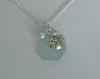 Sea glass Necklace. Sand dollar necklace Beach glass jewelry. Beach glass necklace