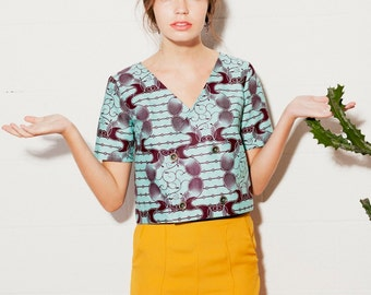 Women's top double breast button, African cotton ((ON SALE))