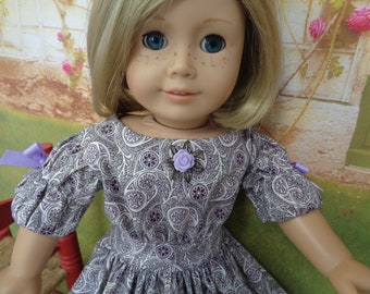 Civil War Victorian Dress-  1850s Cherie - Purple Paisley Dress -Shown on my American Girl Doll