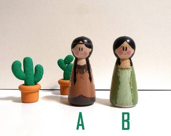 India (A) or Princess of time (B), Kokeshi Peg, miniature wood