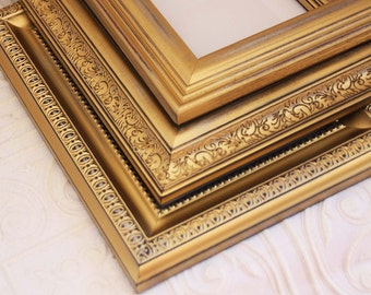 Gold Frame Set of Two 8x10 Distressed Vintage Hand Painted & Distressed