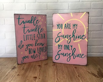 Wooden Nursery Signs, Twinkle Little Star, You Are My Sunshine, Wood Sign Saying, Rustic Sign, Nursery Decor, Child Wall Art, Lullaby, Baby