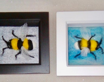 Bumble Bee, needle felted, frame, photo, home decor, bee gift, bee lovers,