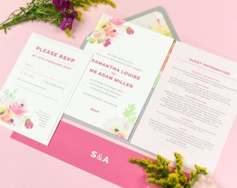 Watercolour rose floral Lucy wedding invitations