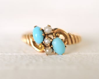 40% SALE - 1800's Antique Victorian / Turquoise and Seed pearls 10k yellow gold ring /boho bohemian gypsy