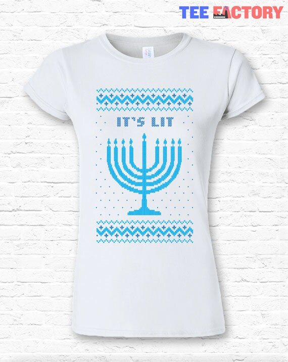 It's Lit Funny Ugly Hannukah Sweater Holiday Menorah Crewneck Sweater Sweatshirt Hoodie • Holiday Jewish Candles Knit Gift Family • TF-40 pE6xSt