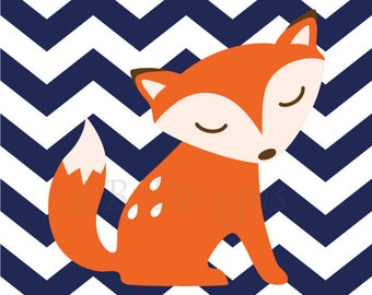 Fox Nursery Decor, Orange and Navy Blue Nursery, Fox Nursery Print, Woodland Nursery Decor - 8x10