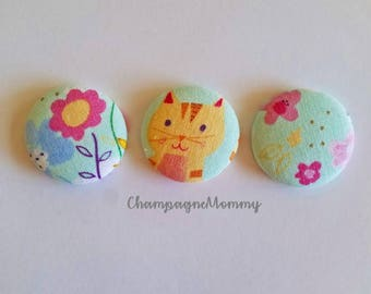 Cat and Flower Fabric Magnets - Set of 3 - 1 1/8 inch size Button Magnets - Fabric Magnets - Home Office - Office Decor