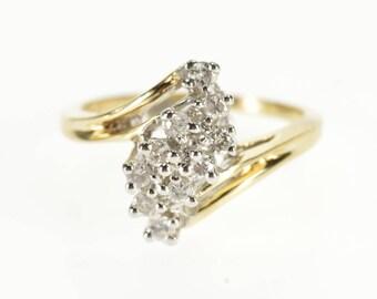 14k 0.30 Ctw Diamond Wavy Cluster Freeform Ring Gold