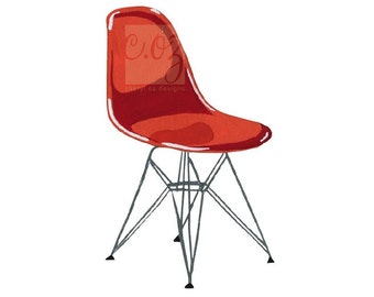 For Charles and Ray Eames - Molded Plastic Chair Gouache Print