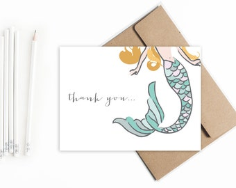 Mermaid Thank You cards. Mermaid theme thank you notes. Birthday thank you cards. Mermaid birthday party