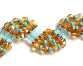 SALE-Tila Wave Bracelet in Topaz and Light Blue
