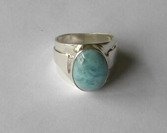 Larimar Ring Handmade Ring Natural Dominican Larimar 18x13mm Gemstone Sterling Silver Ring Size 11 1/2 Blue Larimar Jewelry Free Shipping