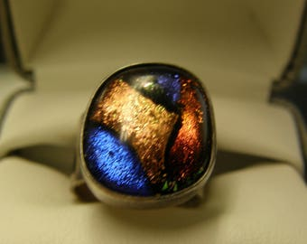 Colorful Chunky Sterling Silver Ring- Size 8