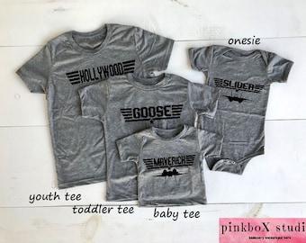 Top Gun Matching Gray Triblend T-shirts. Choose Unisex Adult,Ladies,Youth,Toddler,BabyT,bodysuit.Maverick and Goose. Iceman,Slider,Hollywood