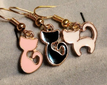 Black Cat Earrings - Pink Cat Earrings - White Cat Earrings