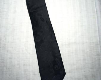 Vintage Montebello Neck Tie, black, floral embroiderey, Silk.