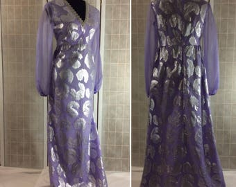 Vintage 1960s/70s Purple Silver Maxi Dress Empire Waist Paisley Feather Sheer Long Sleeves V Neck M