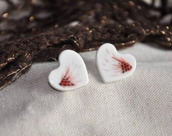 Limoges porcelain heart earrings