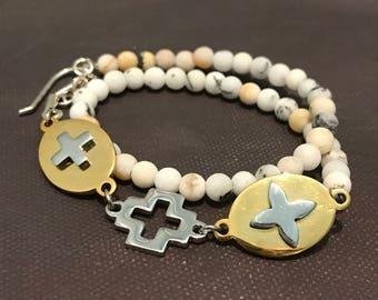 Beaded Christian Wrap - Cross Bracelet - Gemstone - Adjustable Length