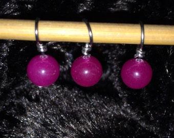 Fuchsia glass bead handmade stitch markers for knitting (Qty 12)