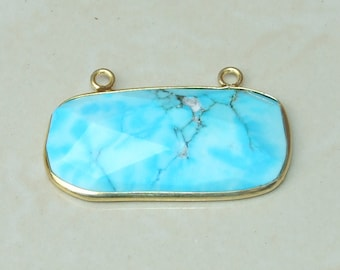 Howlite Pendant. Blue Howlite Pendant - 14K Gold Plated Bezel and Two Loops - 24mm x 43mm - 4650