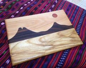 Wood Cutting Board ,Serving Platter - Volanoes and Moon