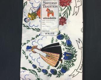 Vintage Swedish Tablecloth Almedahls Sweden Costume Ladies, Farmhouse Decor, Tag, 36 x 36, Cotton Tablecloth, Artist Norrland, Table Linens