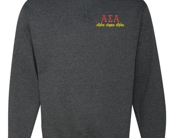 Alpha Sigma Alpha, ASA, Alpha Sigma Alpha Quarter Zip, Alpha Sigma Alpha Sweatshirt, Greek apparel, ASA quarter zip, ASA sweatshirt