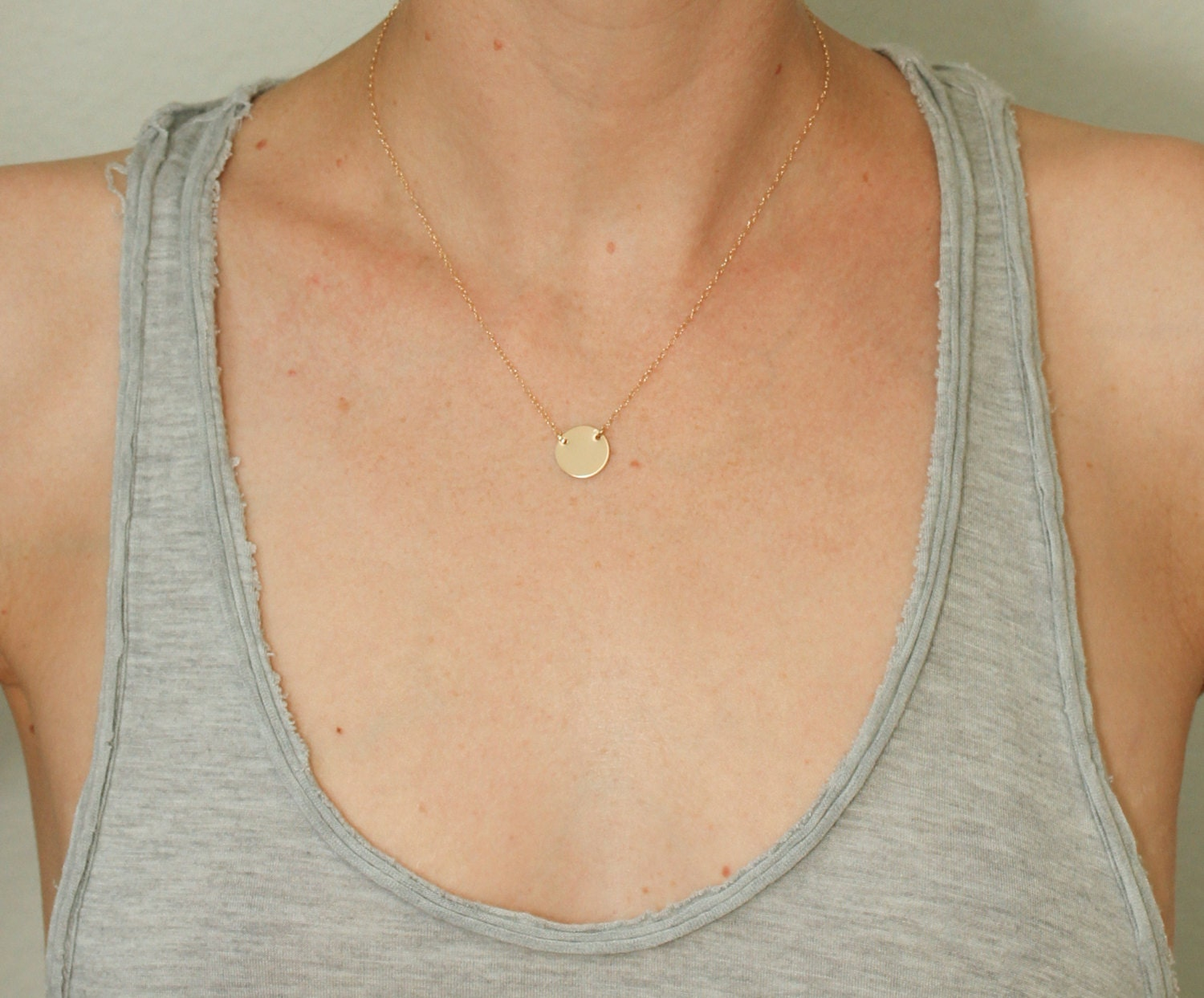 Gold disc necklace dainty gold necklace delicate gold