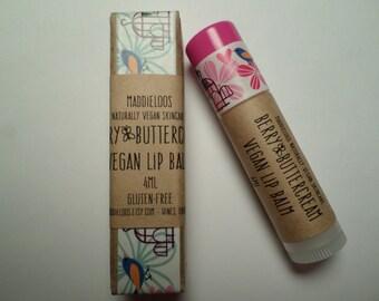 VEGAN-BERRY BUTTERCREAM Vegan Lip Balm-sheer-with lemon balm for cold sores/chapped lips(4ml)