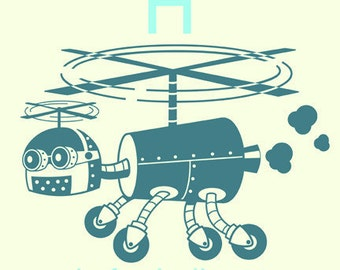 Alphabet Art Print - Robot Alphabet Print - H is for Helicopter - Helicopter art - art for nursery - art for kids room - art for baby boy