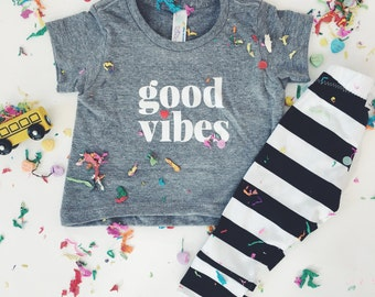 VALENTINE'S GOOD VIBES Tee - Gray Tri-blend T-Shirt- Baby and Toddler